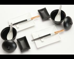 Zestaw do sushi Black & white III dla 2 osób duży.