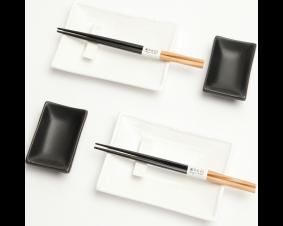 Zestaw do sushi Black & white I dla 2 osób połysk.